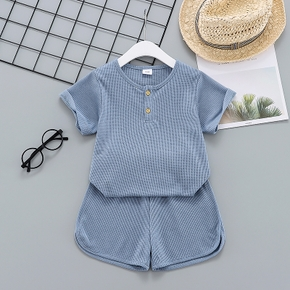 2-piece Toddler Girl/Boy 100% Cotton Waffle Button Design Short-sleeve Solid Top and Shorts Set
