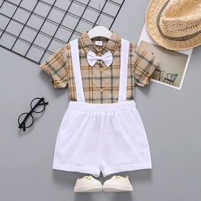 2-piece Toddler Boy Preppy style Plaid Shirt and Overalls Set