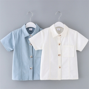 Toddler Boy Cotton Solid Casual Shirt