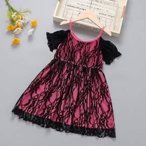 Toddler Girl Lace Mesh Short-sleeve Costume Party Strap Dress