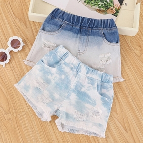 Baby / Toddler Chic Tie Dyed Ripped Denim Shorts