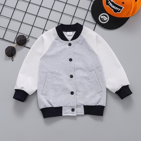 Toddler Boy 100% Cotton Colorblock Button Design Casual Jacket Coat with Pocket