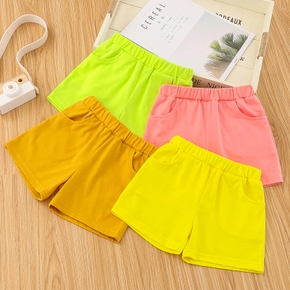 Toddler Girl/Boy Elasticized Casual Bright Color Solid Shorts with Pocket