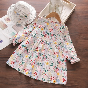 2-piece Toddler Girl Floral Print Square Neck Long-sleeve Dress and Straw Hat Set