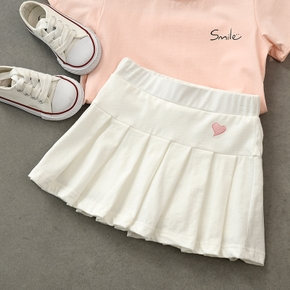 Baby / Toddler Girl Heart Embroidered Pleated Skirt