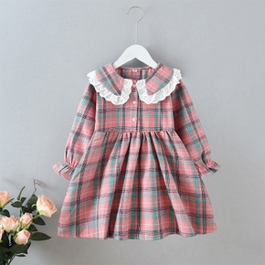 Baby / Toddler Lace Collar Plaid Long-sleeve Dress
