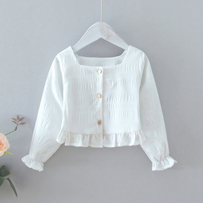 Toddler Girl Square Neck Ruffled Long-sleeve Solid Blouse