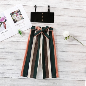 2-piece Toddler Girl Solid Strap Tube Top and Striped Pants with Belt Set
