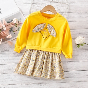2-piece Toddler Girl Faux-two Letter Heart Embroidery Long-sleeve Bowknot Decor Floral Print Splice Pleated Dress