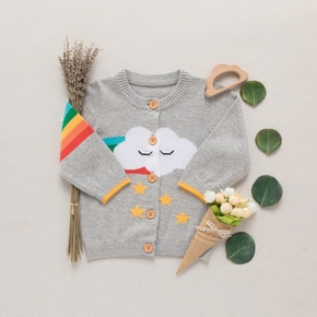 Baby / Toddler Cloud Print Colorful Long-sleeve Knitted Cardigan