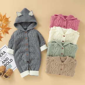Baby Solid Fox Knitted Jumpsuit