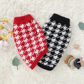 Pet houndstooth sweater