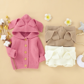 Solid 3D Ear Decor Knitted Hooded Long-sleeve Baby Sweater