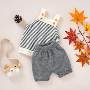 2pcs Solid and Stripe Knitting Baby Set