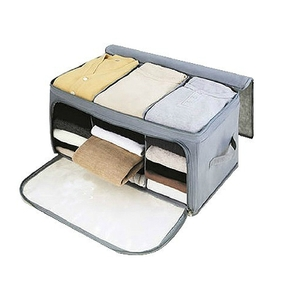 Collapsible Double Zipper Cloth Storage Box in Grey