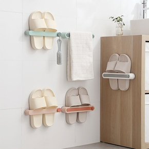 Slipper Rack Towel Hanger Wall-Mounted Shoes Storage Rack Punch Free Slippers Holder