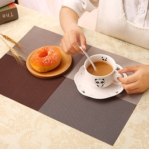 Simple Thickened PVC Placemat Checkered Non-Slip Anti-Scald Heat-Insulating Western Table Mat Waterproof Non-slip Bowls and Coasters Tablecloth