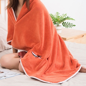 Women's Coral Velvet Thick Bathrobe Can Wear Bath Towels Sweat-absorbent Cute Adult Towel Sling Home Bath Skirt Pajamas Absorbent Quick Drying Bath Towel-New