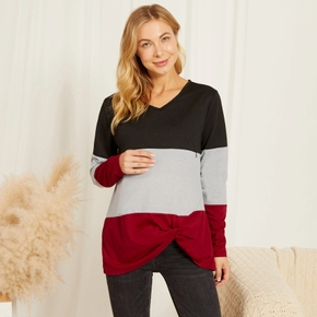 Maternity Round collar Color Block Color block Burgundy Long-sleeve Nursing Tee