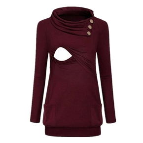 Maternity Pile collar Plain Long-sleeve Nursing Tee