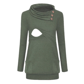 Casual Solid Long-sleeve Maternity Nursing Top