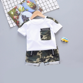Camo Print Short-sleeve Tee and Shorts Set