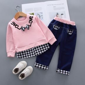 2pcs Letter and Plaid Print Splice Long-sleeve Baby Set