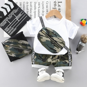 2pcs Solid and Camouflage Short-sleeve Baby Set