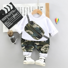 2-piece Toddler Boy Camouflage Bag Print Long-sleeve Top and Elasticized Pants Set
