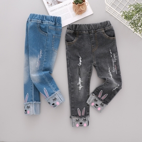 Baby / Toddler Embroidered Rabbit Denim Pants