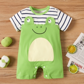 100% Cotton Frog and Stripe Print Short-sleeve Green Baby Romper