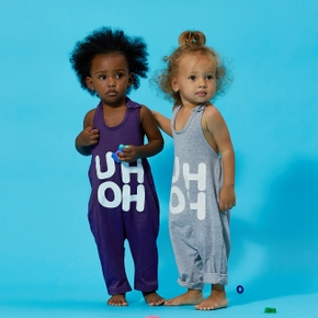 Baby / Toddler Trendy Letter Print Strappy Onesies