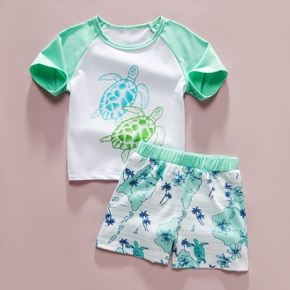 2-piece Baby / Toddler Boy Adorable Turtle Print Tee and Shorts Set