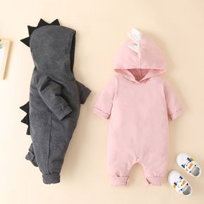 Baby Dinosaur Solid Hooded Jumpsuit