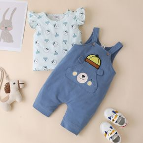 2pcs Baby Unisex Flutter-sleeve Bear Print Cotton Baby's Sets