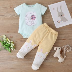 2pcs Baby Girl Sweet Cotton Short-sleeve Rabbit Romper Pants Baby Sets