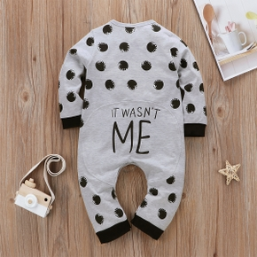 Dotted Letter Print Long-sleeve Baby Jumpsuit