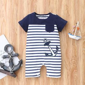 Stripe and Anchor Short-sleeve Baby Jumpsuit