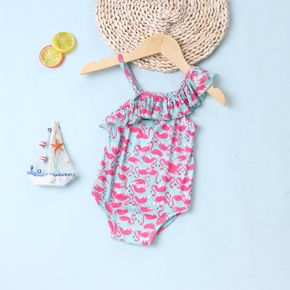 1pcs Baby Girl Sleeveless Ruffled Animal Print Swimwear