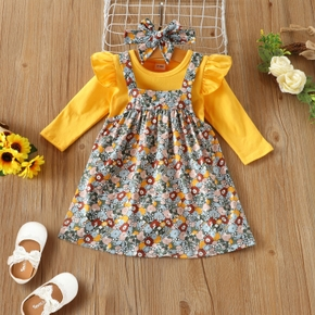 Baby 3pcs Yellow Long-sleeve Romper and Floral Overall Dress Set