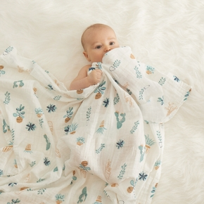 Soft Floral Print Double Layer Baby Blanket