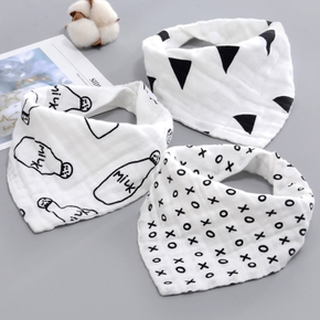 3-piece Cartoon Print Softness Cotton Baby Bibs