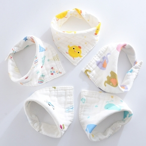 5-pcs Cartoon Print Cotton Baby Boys Girls Bibs Bebe Accessory Infant as gift