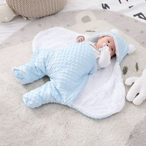 Baby Blanket Swaddle Wrap Winter Cotton Plush Hooded Sleeping Bag