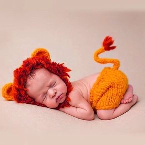 2PCS Baby Knitting Newborn Shooting Clothes Baby Cartoon Lion Style Knitted Clothes
