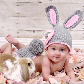 2PCS Baby Knitting Newborn Shooting Clothes Baby Scene Photo Clothing Rabbit Suit