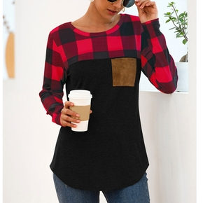 Round collar Plaid full print long sleeve casual T-shirt