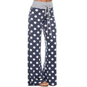 casual Polka dot Elastic waistband Wide trousers pants