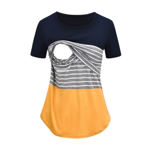Casual Striped Short-sleeve Nursing Tee