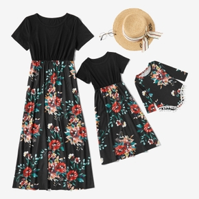 Flower Print Short-sleeve Matching Dresses for Mommy and Me